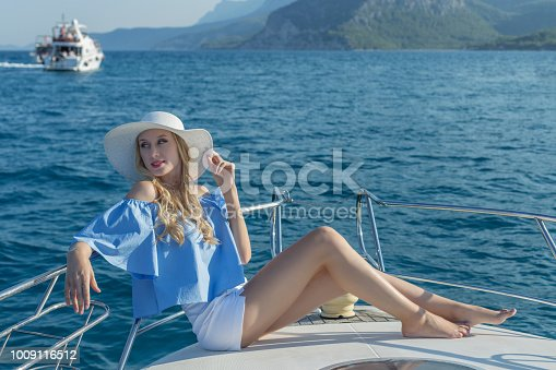 Fashionable woman on yacht