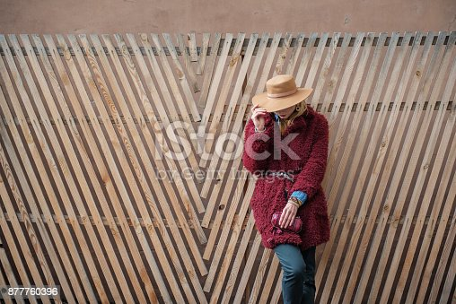 509923232 istock photo Fashionable woman relaxing near wood palisade 877760396