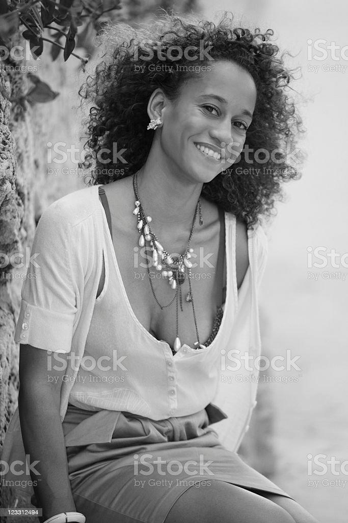 Fashionable woman smiling royalty-free stock photo