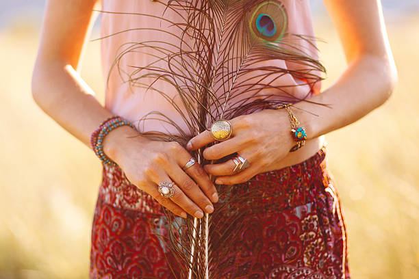 fashionable woman wearing gypsy vintage accessories - low contrast stock pictures, royalty-free photos & images