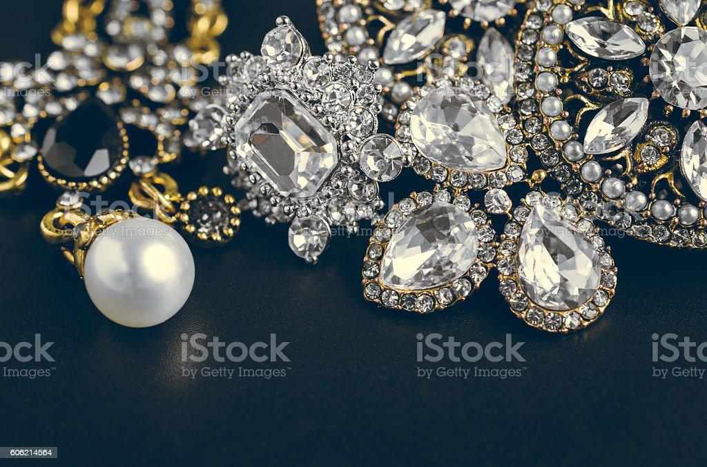 fashionable women's jewelry vintage tone on black board stock photo