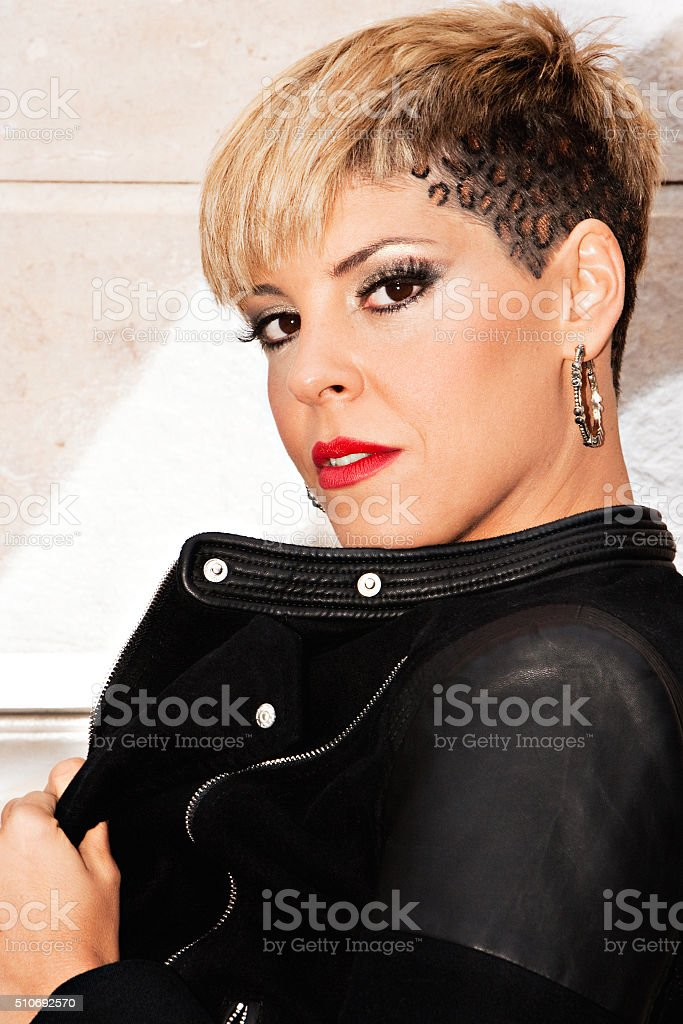 Fashionable young woman portrait. stock photo