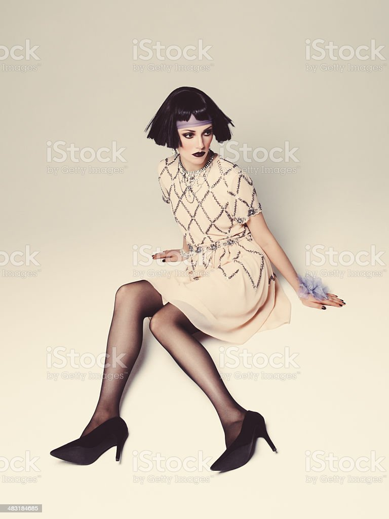 Fashionbale woman with bob haircut stock photo
