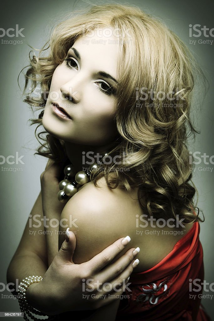 fashon blond woman in red dress royalty-free stock photo