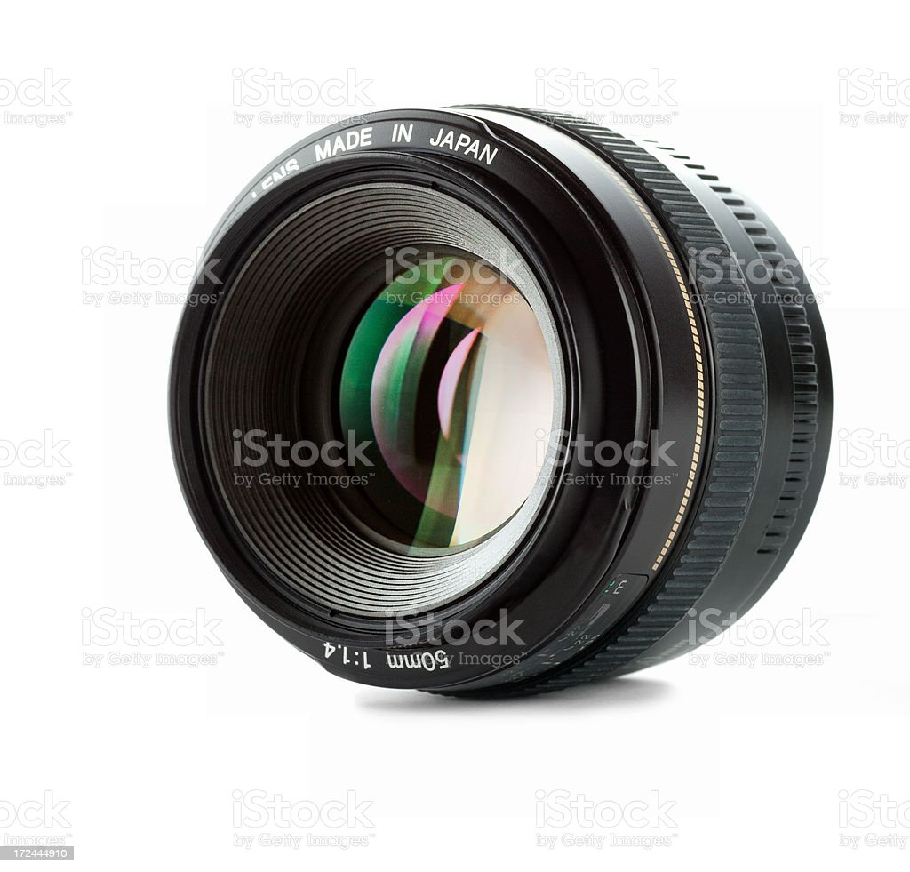 fast 50 mm lens on white stock photo