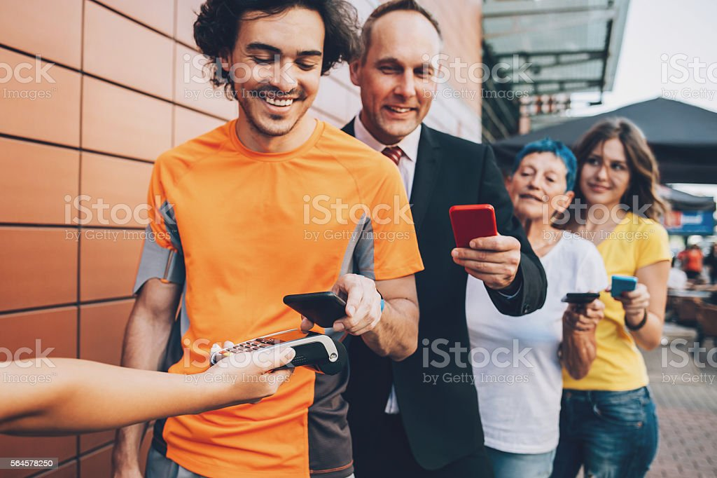 Fast and comfortable contactless payment for all stock photo