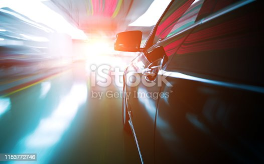 640042252 istock photo Fast car in parking, blurred motion 1153772746