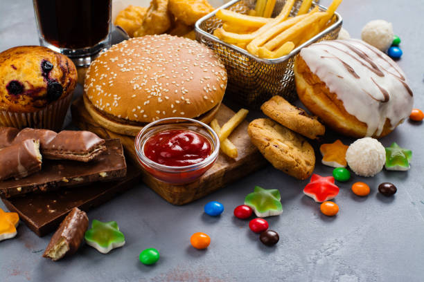 快速碳水化合物食物 - 不健康飲食 個照片及圖片檔