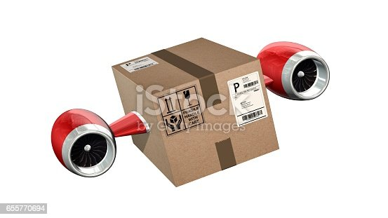 istock Fast cargo delivery concept - shipping cardboard box with airplane turbines isolated on white 655770694