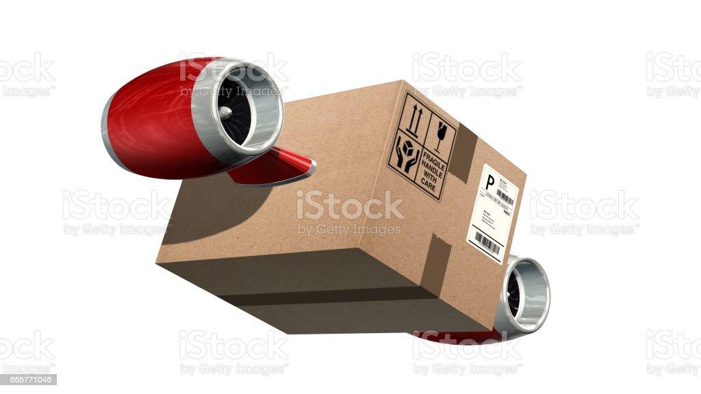 Concept de livraison de fret rapide - boîte en carton d'expédition avec les turbines d'avion isolés sur blanc - Photo