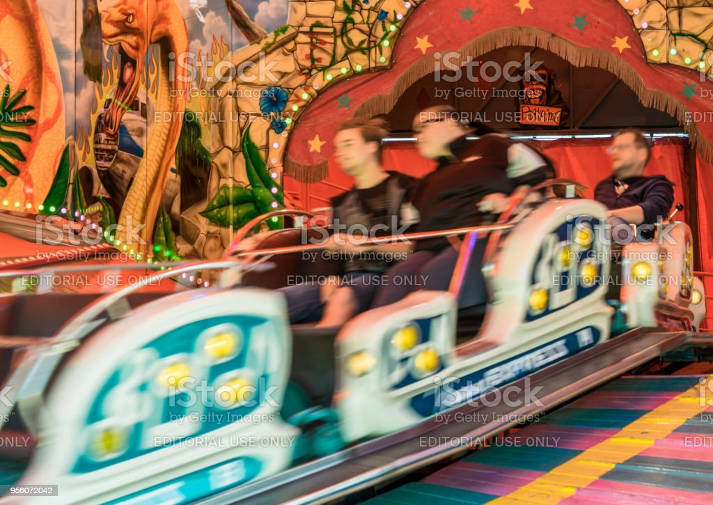 Fast carousel in motion, intended motion blur stock photo