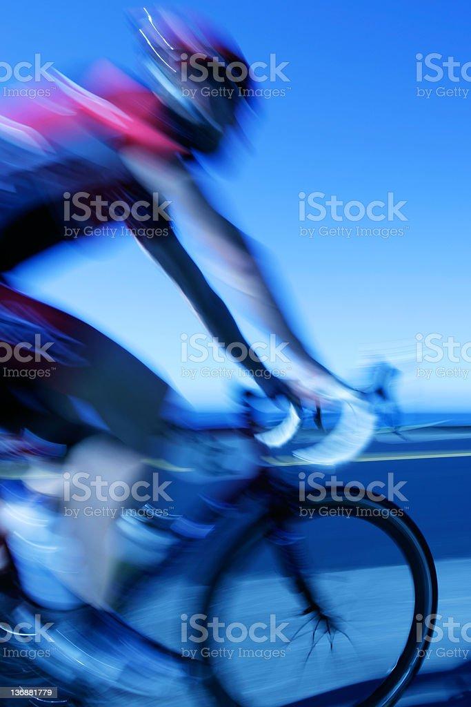 XXL fast cyclist stock photo