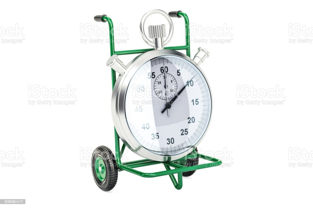 Fast delivery concept. Hand truck with chronometer, 3D rendering isolated on white background stock photo