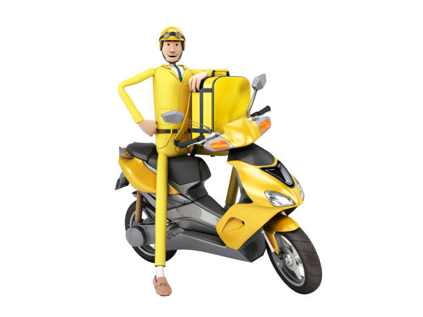 fast delivery concept the courier on a motorcycle holds a thermal backpack 3d render on white no shadow stock photo