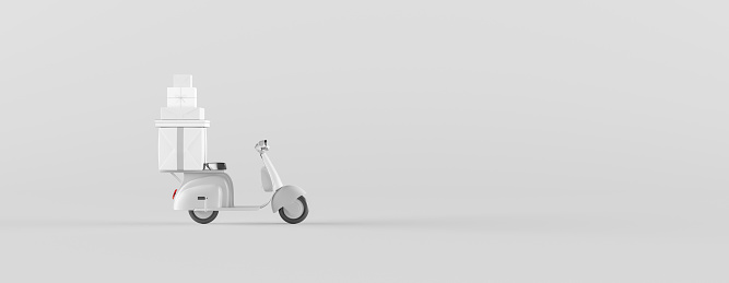 Fast delivery package by scooter. Online delivery service concept with copy space. 3d render 3d illustration