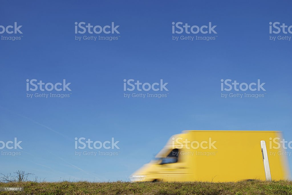 Fast driving delivery van royalty-free stock photo