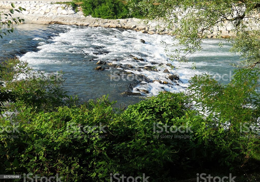 Fast flowing river stock photo