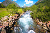 Panoramic, Nature, Scenic - River flowing fast down the mountains and through the side.