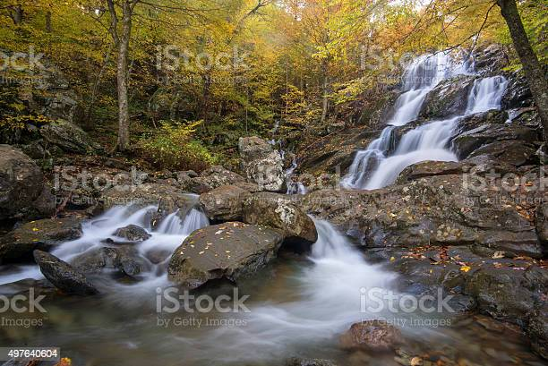 Photo of Fast flowing waterfall in Autumn leaves