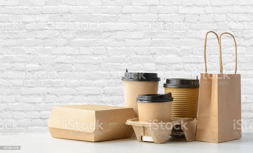 Fast food and drink packaging set stock photo