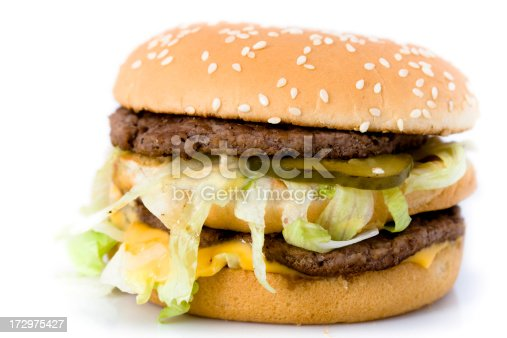 double cheeseburger on white background.
