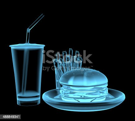 istock Fast food burger x-ray blue transparent isolated on black 488849341