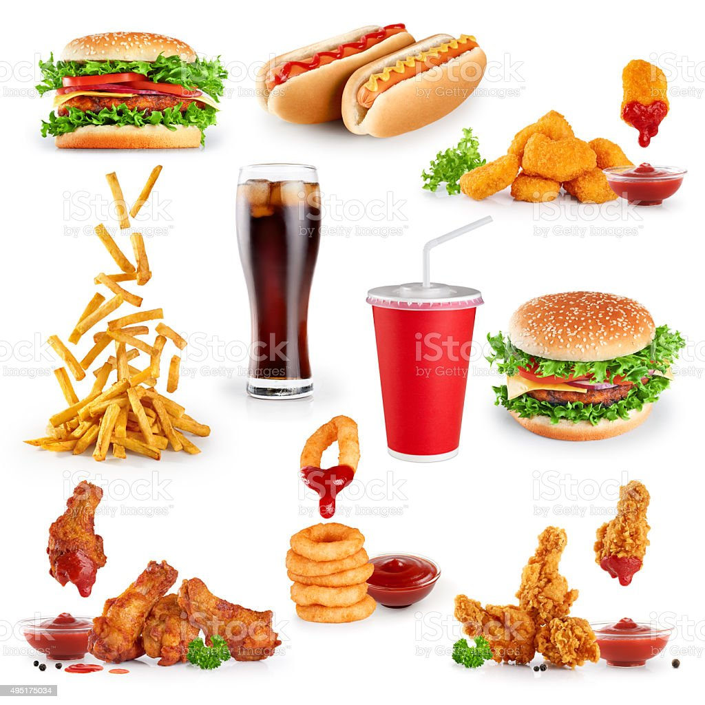Fast food collection on white background. stock photo