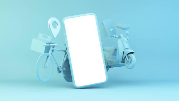 fast food delivery app stock photo