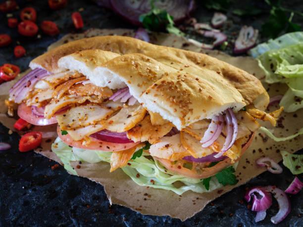 Fast Food: Doner kebab with meat, vegetables