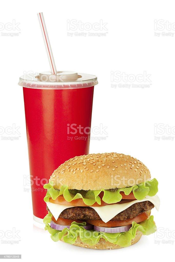Fast food drink and hamburger royalty-free stock photo