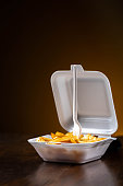 French fries in a styrofoam box - still hot - fast food