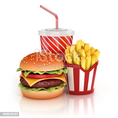 istock fast food hamburger, fries and soft drink 3d illustration 499639497