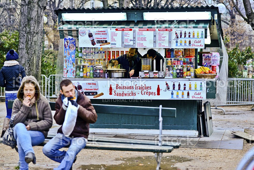 Fast Food Kiosk On Champselysées Paris Stock Photo - Download Image