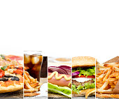 Photo of mix stripes with various kinds of fast food and drinks; white space for text