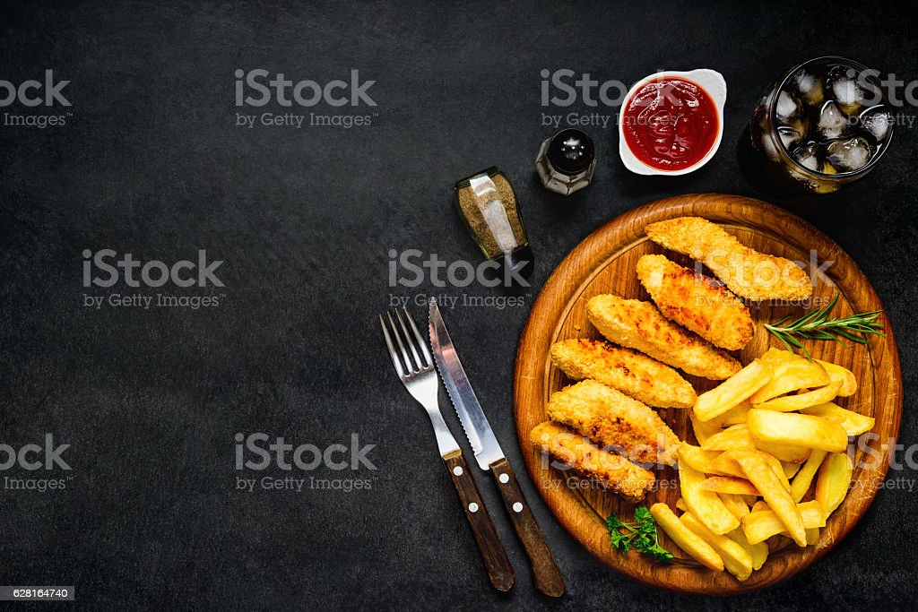 Fast Food on Copy Space stock photo