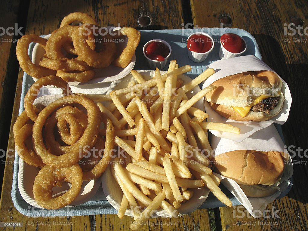 Fast Food on  Picnic Table stock photo