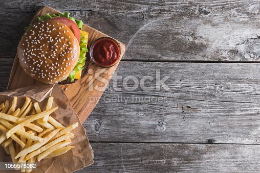fast food on the wood