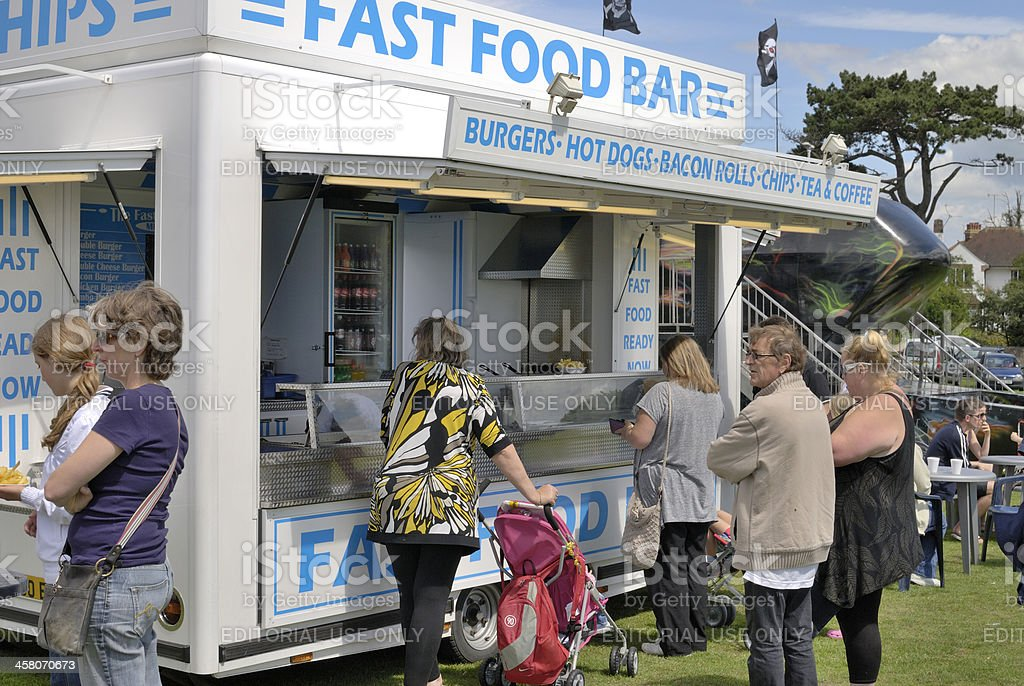 Fast food outlet at English village fete royalty-free stock photo