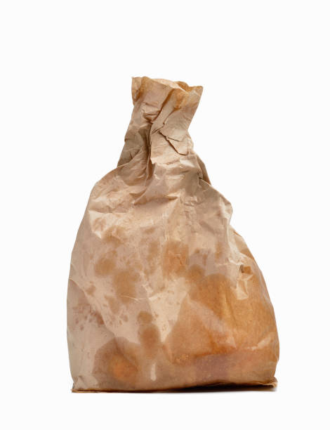Fast food Greasy paper bag with white background slippery stock pictures, royalty-free photos & images