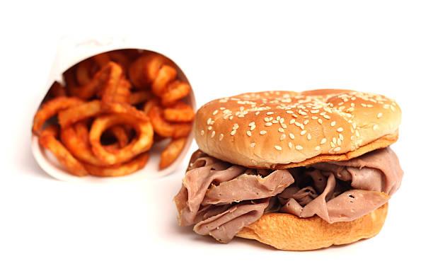 fast-food - roast beef sandwich stock-fotos und bilder
