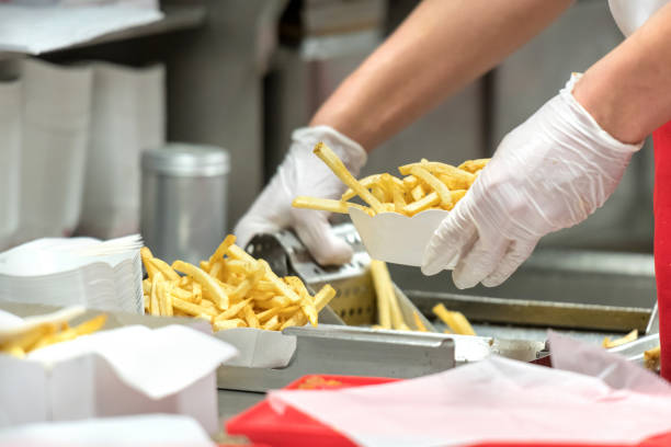 fast food restaurant french fries stock photo