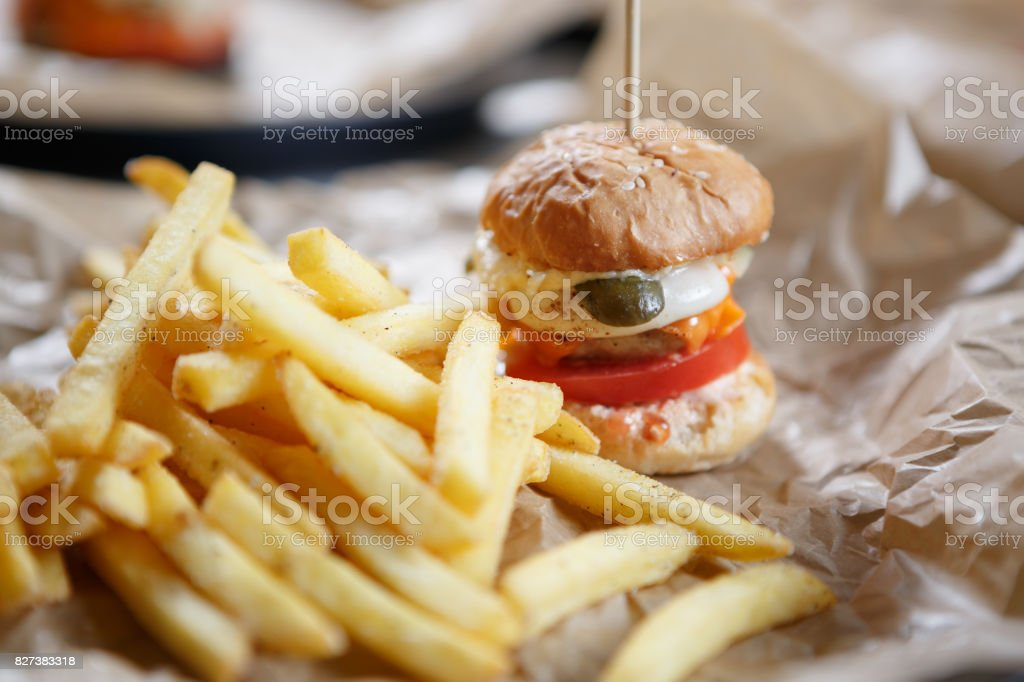 Fast Food Restaurant Menubig Fresh Burger In Cafe Stock Photo Download Image Now Istock