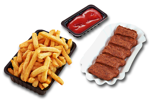 Fast food Snack and french fries. Each snack have a clipping path