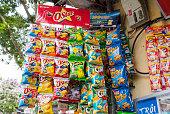 Hanoi, Vietnam - May 21, 2016: Fast food snacks for sale at the street shop in Hanoi, Vietnam.