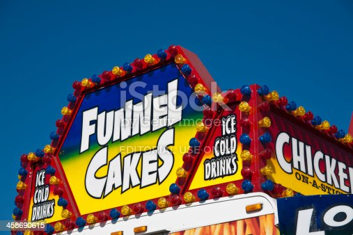 Sarasota, Florida - March 23, 2011: Brilliantly colored sign at a fast food stand at the Sarasota County Fair. Includes funnel cakes, ice cold drinks and chicken-on-a-stick.