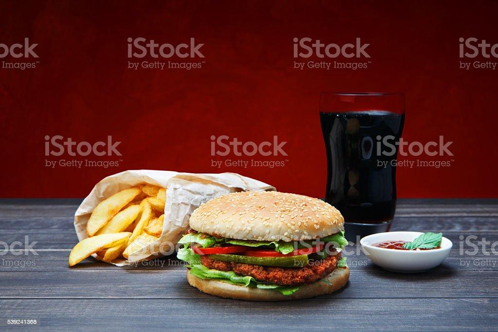 Fast food take away. Hamburger, cola and fries. royalty-free stock photo