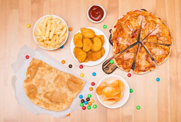 Fast-Food-Draufsicht – Foto