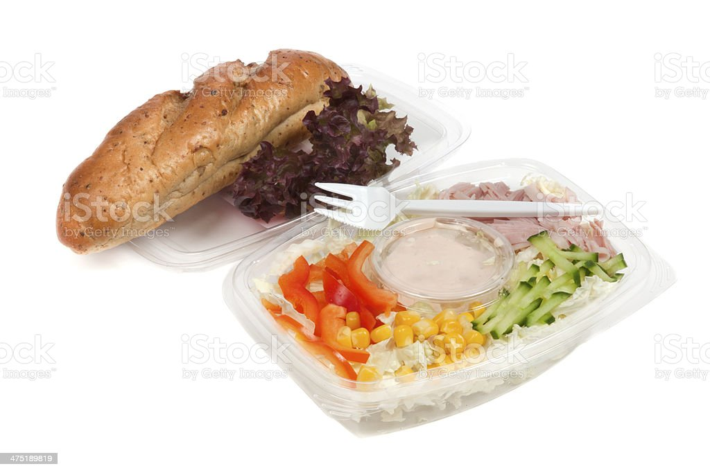 Fast food with ham and salad royalty-free stock photo