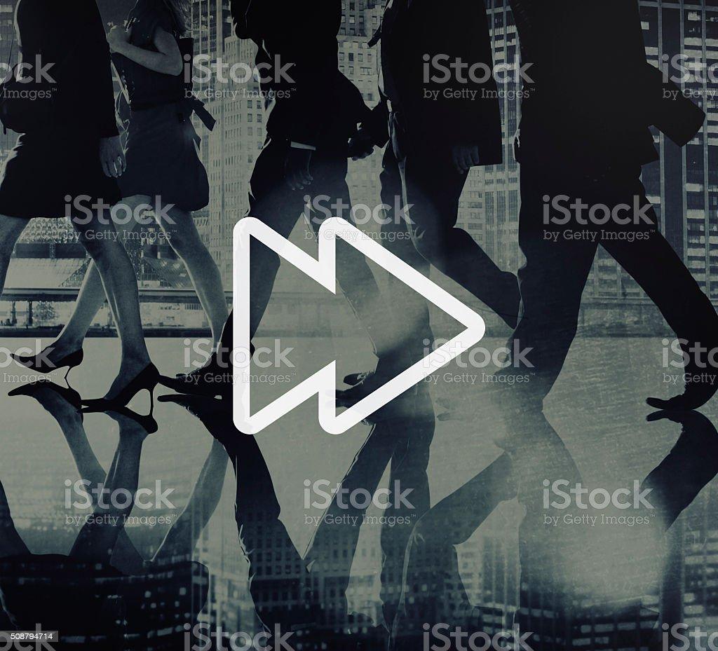 Fast Forward Multimedia Music Audio Concept stock photo