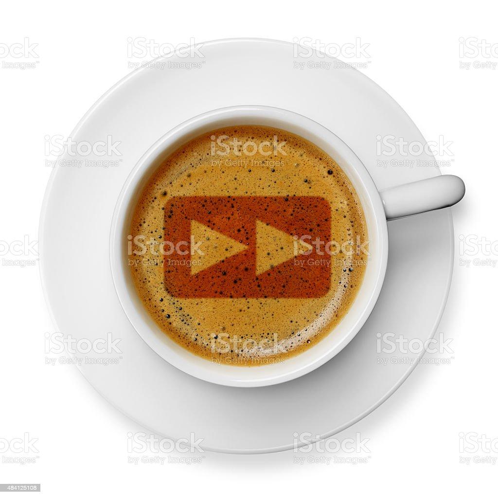 Fast forward symbol on coffee stock photo